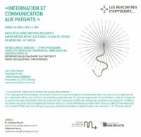 Conférence Claude Rambaud : Information et Communication aux Patients. Le mardi 16 avril 2013 à Paris06. Paris.  18H00